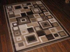 Modern Approx 6x4ft 120x170cm Woven Rugs Sale Top Quality Browns-Beige Sqaures